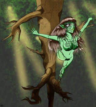 Dryad in the Forest by KuroAkisame
