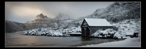 Snowy Dove Lake Boatshed by marianne-lim
