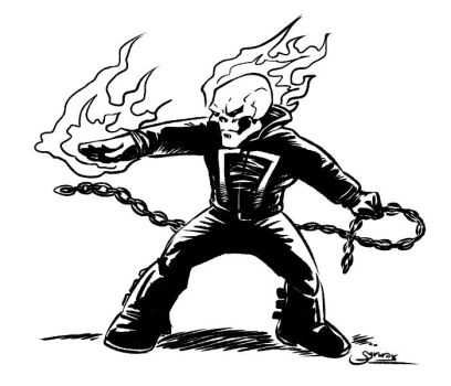 Cartoon Ghost Rider Inktober14 by Sgrum