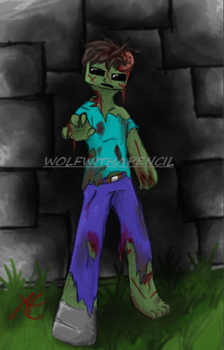 Minecraft Zombie by WolfWithAPencil