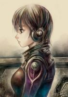 Headphone Girl by WUDUO