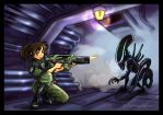Sango vs Alien for wonkadude by righteousred