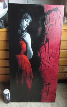 Girl in the red dress - Canvas by snikstencilstuff