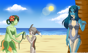 Pokemon at the Beach by YuffieTheSwift