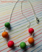 Red, Orange and Green Bauble Necklace by Forbiddenynforgotten
