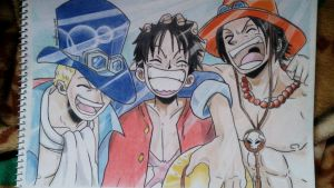 Ace, Sabo, and Luffy. One Piece. :) by Mikasaaa04