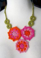 Crochet irish pink necklace by meekssandygirl