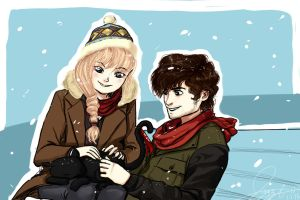 Modern Hiccup and Astrid with Toothless by RazPerm