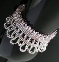 Bead loomed cube and crystal bracelet by CatsWire