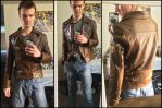 Custom WWII Captain America cosplay leather jacket by TimeyWimey-007