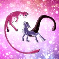 Child Mewtwo and Mew by MissMagnificent