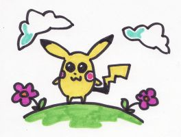 Pikachu plus pansies by thegaygamer