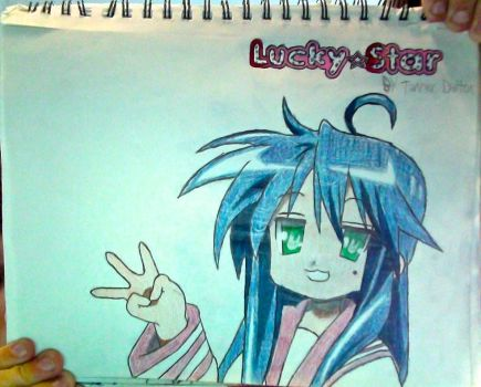 Konata Izumi + Lucky Star logo drawing (Unflipped) by TannMann64