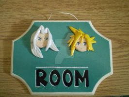 Cloud and Sephiroth Plaque by CrowMaiden