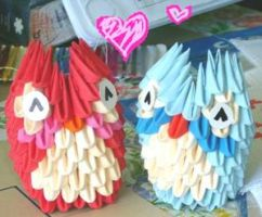 3d origami mini owls by juls2