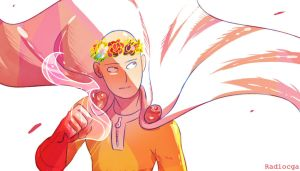 Opm Saitama with flowercrown by RadioMomo