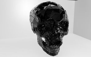 Shattered/Exploded Black 3D Skull 1920x1200 by cytherina