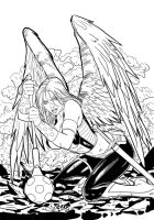 hawkgirl by fredbenes inks by Brad Eastburn by eastphoto99
