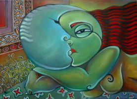 The kiss oil paint by Boias