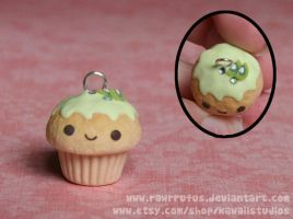 Kawaii Kiwi Clay Cupcake Charm by xoxRufus