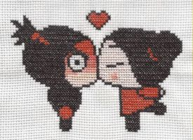 Pucca and Garu cross stitch by Lil-Samuu