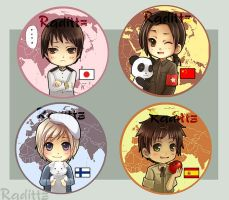 Hetalia Button set 2 by Radittz