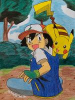Ash playing with his Pika by Ash-Misty-Pikachu