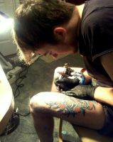 Tattooing myself by CalebSlabzzzGraham