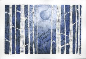 Blue Moon Birches by Kimbuddy666