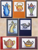 ATCs: Fantasy Teapots by Athalour