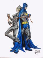 Batman And Catwoman inks, Colored by SSGJoey