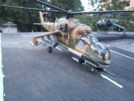 Mi-24 Hind-E  Attack helicopter wing ready by Krulos