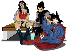 Goku/Vegeta/Ichigo as Superman/Batman/Wonder Woman by PDJ004