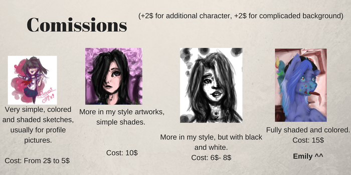 Comissions are open, bae! by EmilySpark