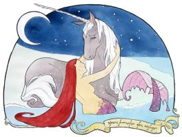 Mermaid consoles the Unicorn by Maryanneleslie