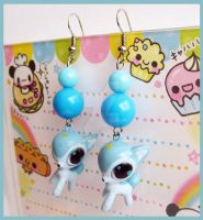Blue Deer Earrings by cherryboop