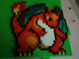 Charizard - pokemon made with pearler beads by Ritalabella