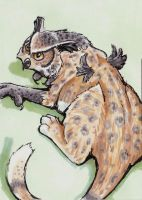 Great Horned Leopard ACEO by Stormslegacy
