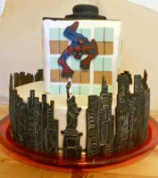 Spider-Man cake by Efreet-in-the-Oven
