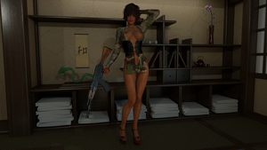 Shao in Camo Lace Lingerie with an AK-47 by Gator762