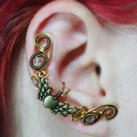 Brass Winged Heart Fairy Ear Cuff by sylva