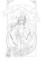 Maiden of the Moon .:Lineart:. by Angelic-Blossoms