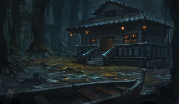 Cabin in the woods by Raph04art