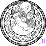 Zodiac Sagittarius Stained Glass Coloring Page by Akili-Amethyst