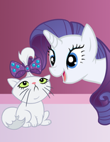 Rarity and Kitten Opal by shiny-pebble
