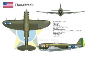 P-47D Brazil 1 3-View by WS-Clave