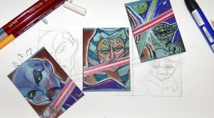 Sketchcards - hard at it by Bluedonutstudios