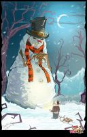 Cartoon Mad Snowman by tadziad