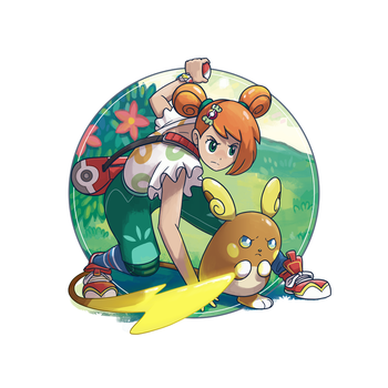 Alolan Raichu and Pokemon Trainer by morganobrienart