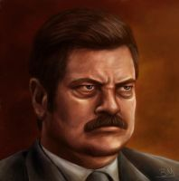 Ron Swanson - Parks and Recreation by BenMaud